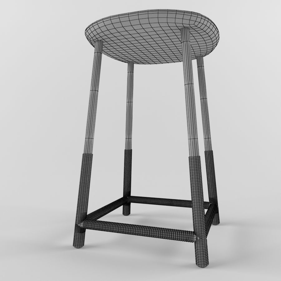Wood Stool royalty-free 3d model - Preview no. 6