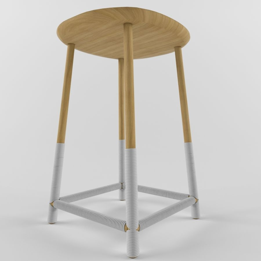 Wood Stool royalty-free 3d model - Preview no. 2