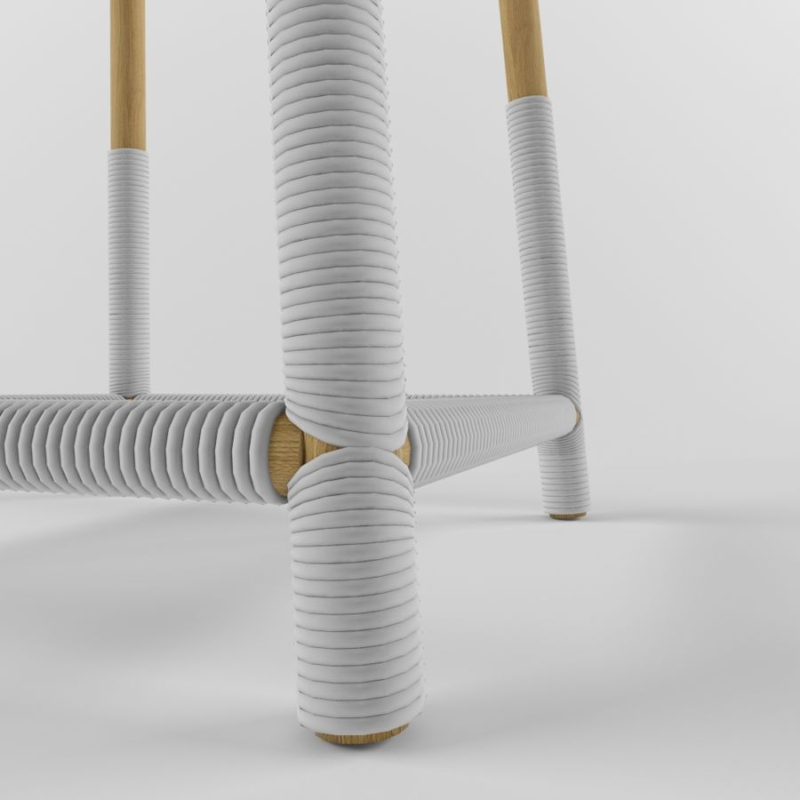 Wood Stool royalty-free 3d model - Preview no. 4