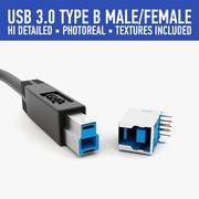 USB type B 3d model