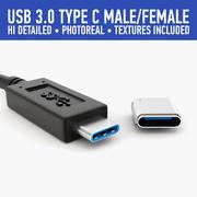 USB type C 3d model