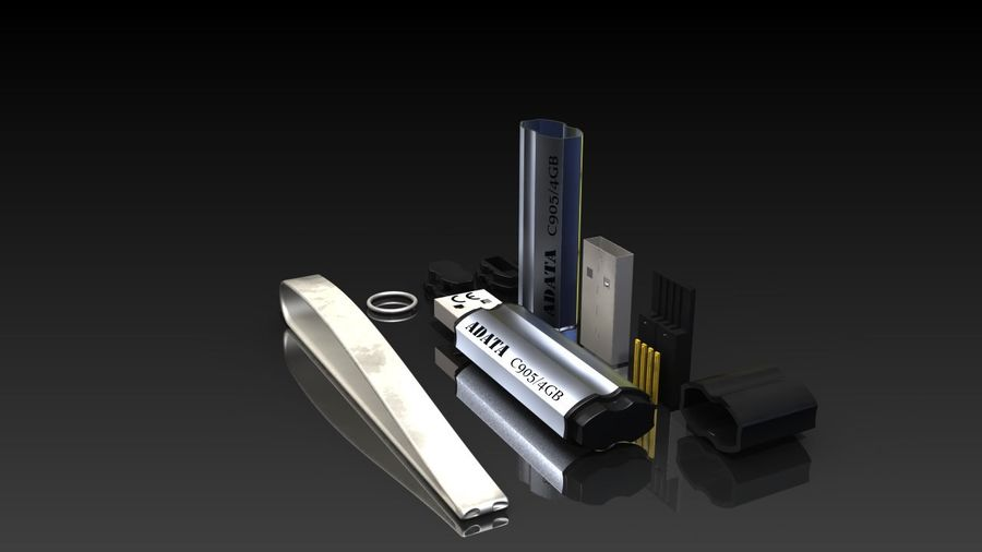 USB Flash Drive royalty-free 3d model - Preview no. 4