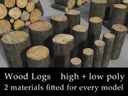 Houtblokken hoog + laag poly 3d model