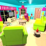 Sala de estar de dibujos animados modelo 3d