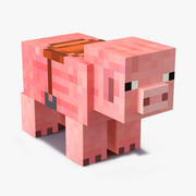 Minecraft Pig with Saddle 3D Model 3d model