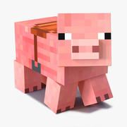 Minecraft-varken met 3D-model met zadelopstelling 3d model