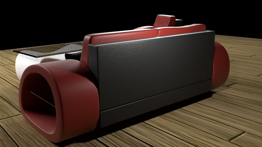 Modern Sofa (couch) royalty-free 3d model - Preview no. 5