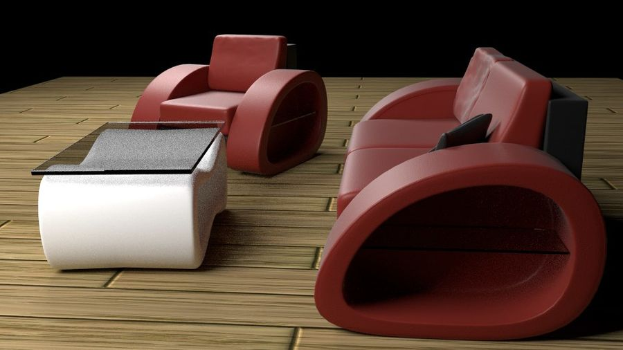 Modern Sofa (couch) royalty-free 3d model - Preview no. 3