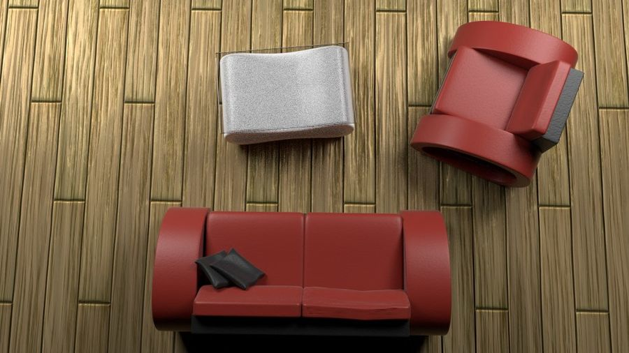 Modern Sofa (couch) royalty-free 3d model - Preview no. 6