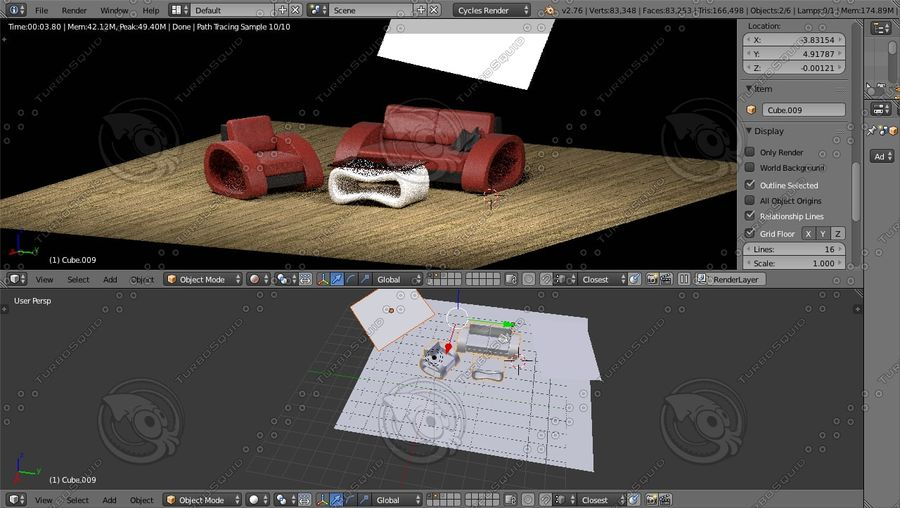 Modern Sofa (couch) royalty-free 3d model - Preview no. 11