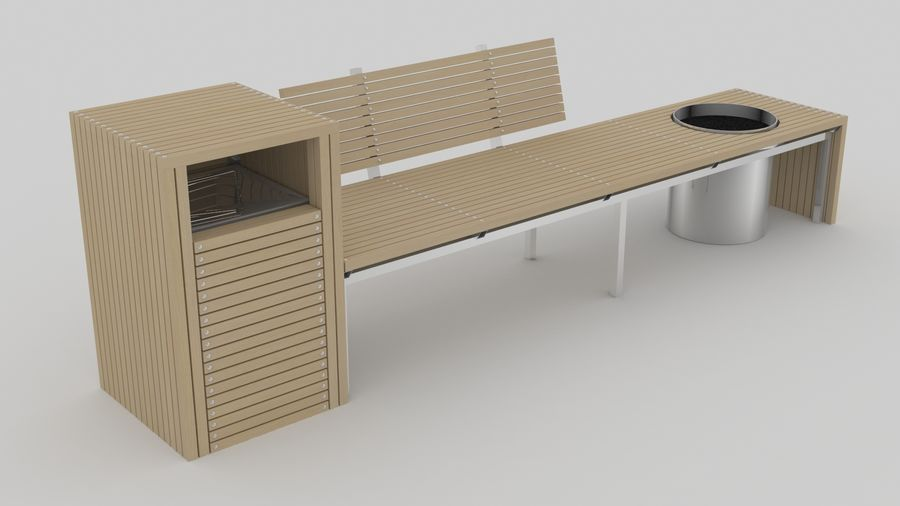 Garden Bench royalty-free 3d model - Preview no. 2