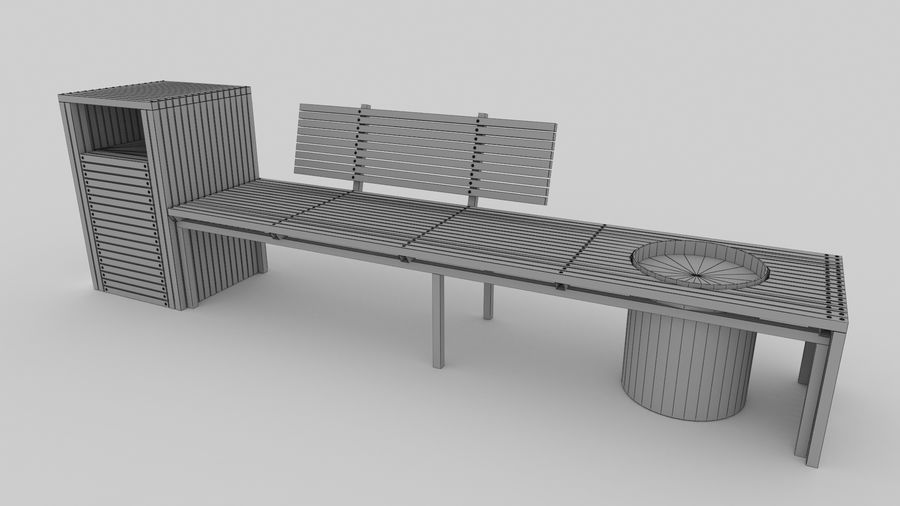 Garden Bench royalty-free 3d model - Preview no. 7