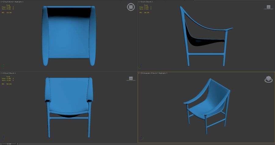 SWING-chair royalty-free 3d model - Preview no. 7