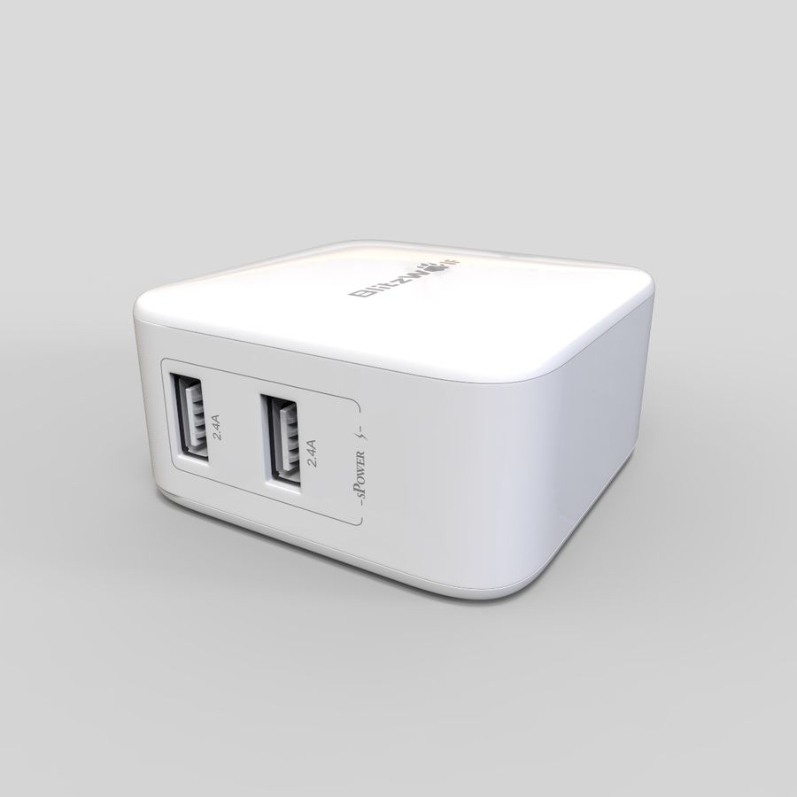 Outlet USB Charger royalty-free 3d model - Preview no. 2