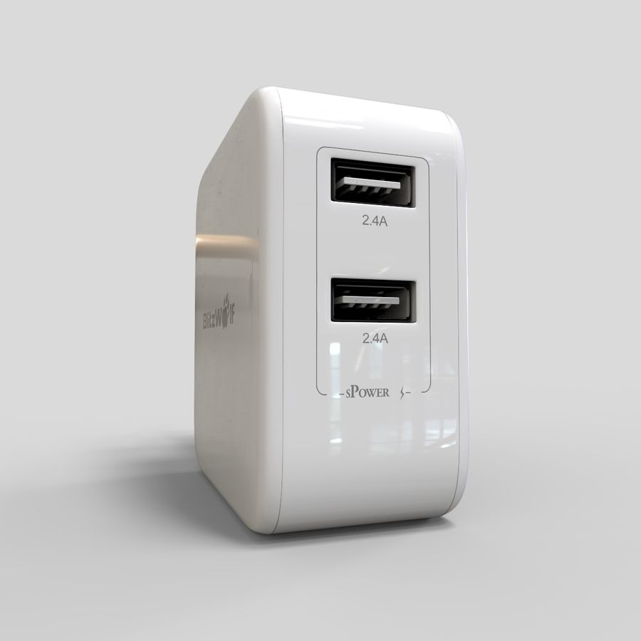 Outlet USB Charger royalty-free 3d model - Preview no. 6