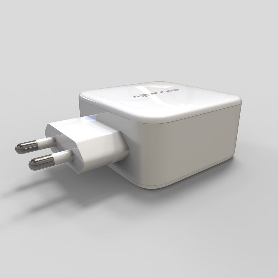 Outlet USB Charger royalty-free 3d model - Preview no. 5