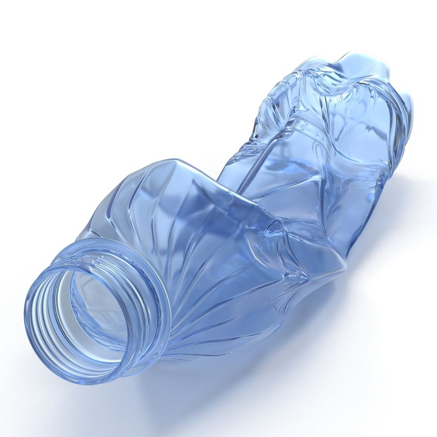 Crushed Plastic Bottle Blue royalty-free 3d model - Preview no. 6