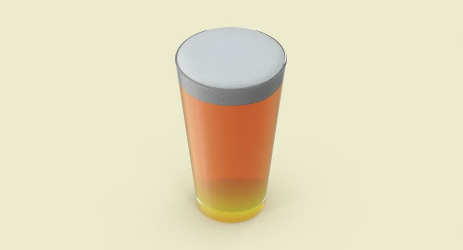 Full Pint Glass royalty-free 3d model - Preview no. 4