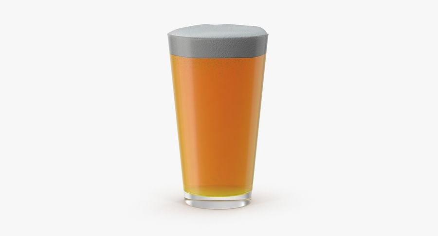Full Pint Glass royalty-free 3d model - Preview no. 2
