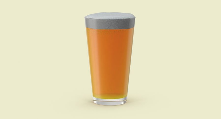 Full Pint Glass royalty-free 3d model - Preview no. 3