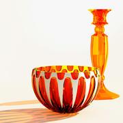 wazon ze szkła pomarańczowego i świecznik ze szkła pomarańczowego 3d model
