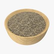 Bowl of Ground Black Pepper 3d model