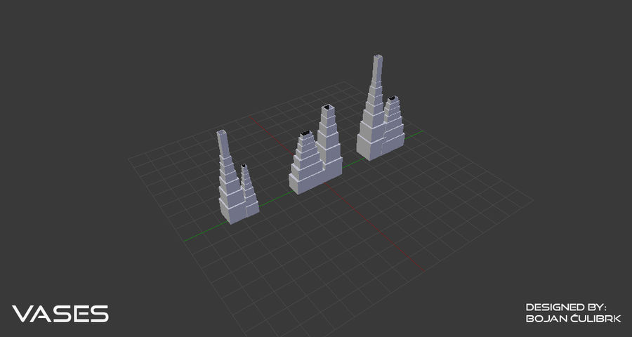 Architectural Building Vases - collection royalty-free 3d model - Preview no. 9