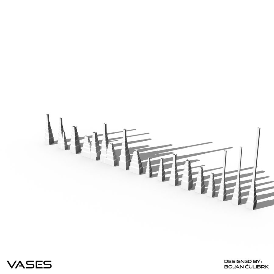 Architectural Building Vases - collection royalty-free 3d model - Preview no. 16
