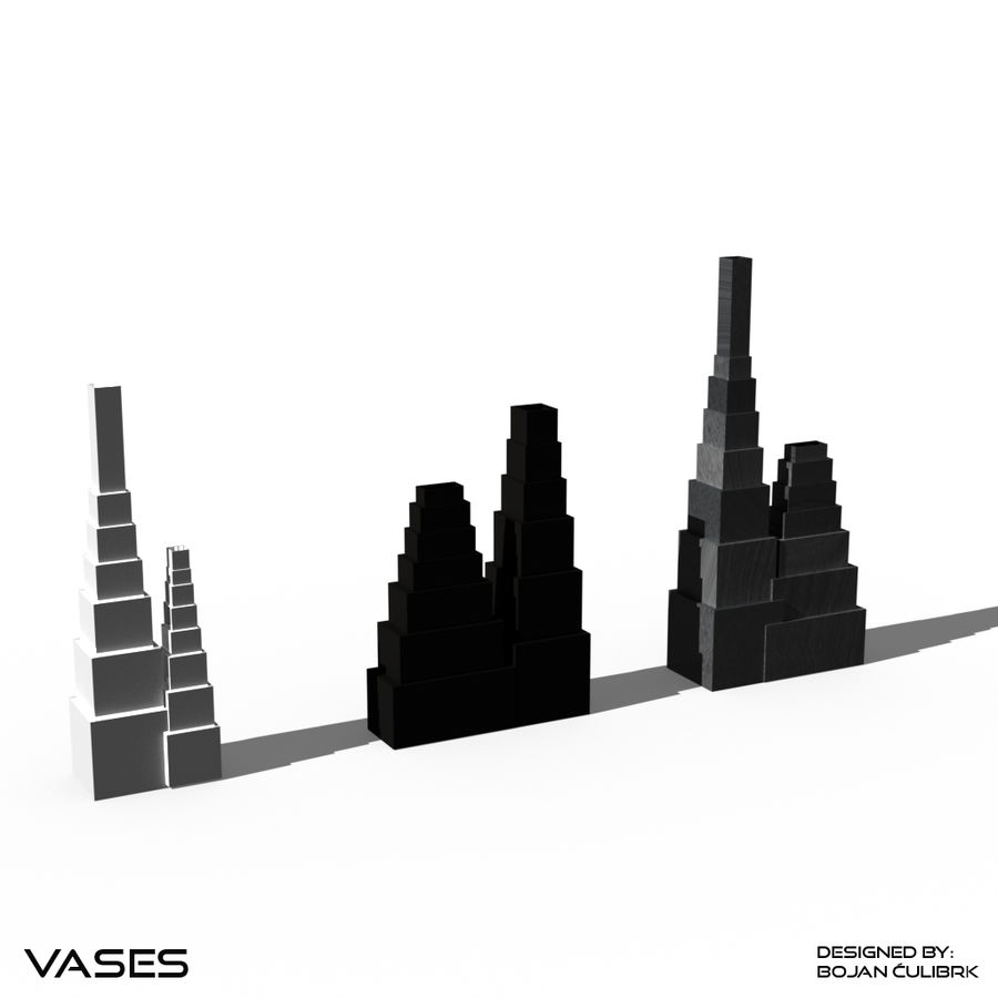 Architectural Building Vases - collection royalty-free 3d model - Preview no. 8
