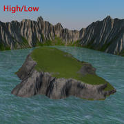 Island And Cliff 3d model