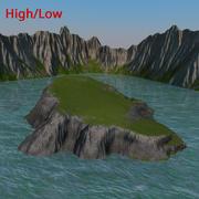 Île et falaise 3d model