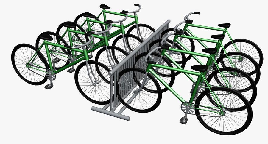自転車と自転車ラック royalty-free 3d model - Preview no. 2
