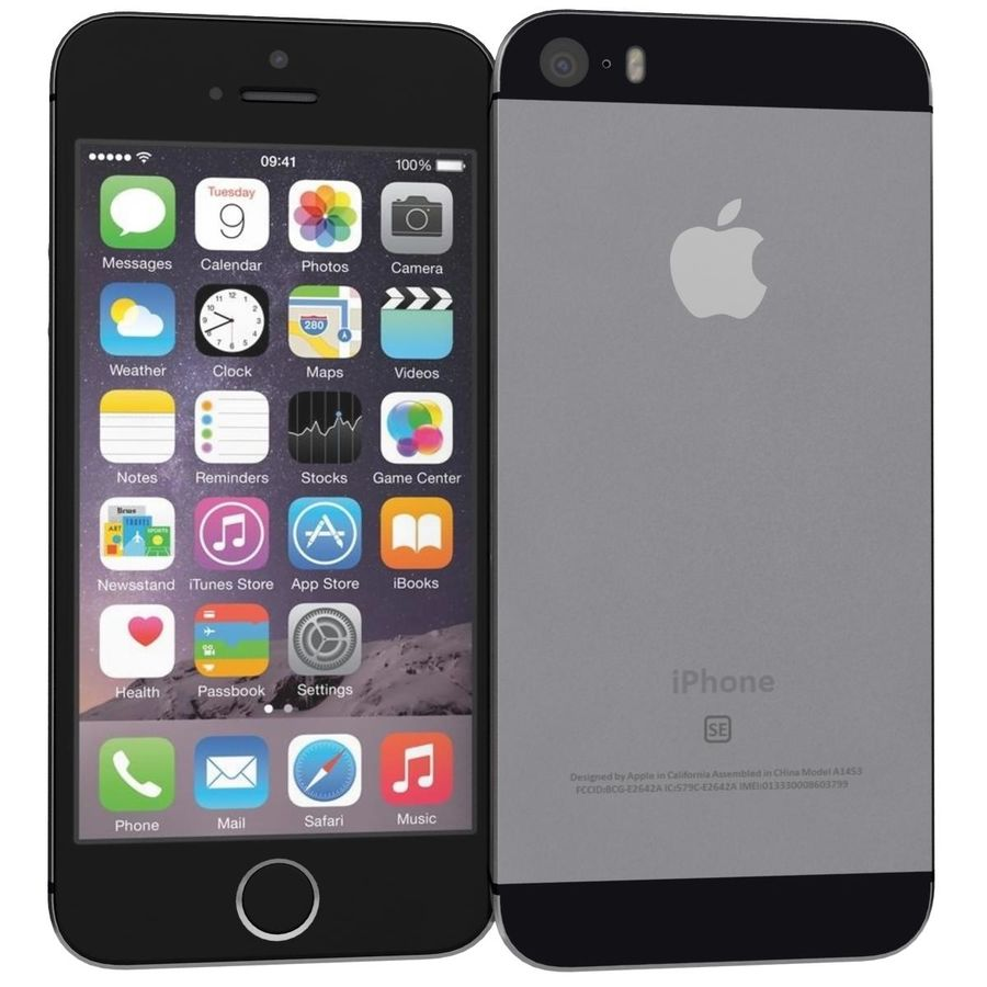 Apple iPhone SE Cinza Espaço royalty-free 3d model - Preview no. 2