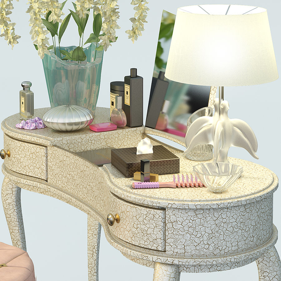 toalettbord med tillbehör royalty-free 3d model - Preview no. 2
