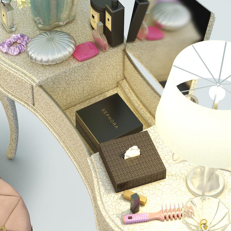 toalettbord med tillbehör royalty-free 3d model - Preview no. 3