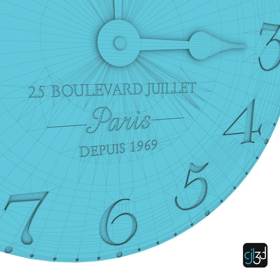 Wall Clock royalty-free 3d model - Preview no. 10