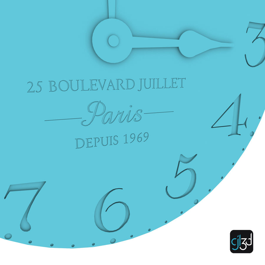 Wall Clock royalty-free 3d model - Preview no. 9