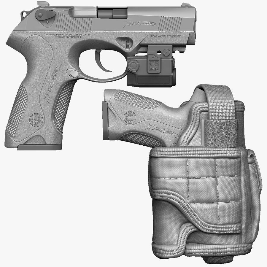 BERETTA PX4 Storm met Holster Zbrush Sculpt royalty-free 3d model - Preview no. 1