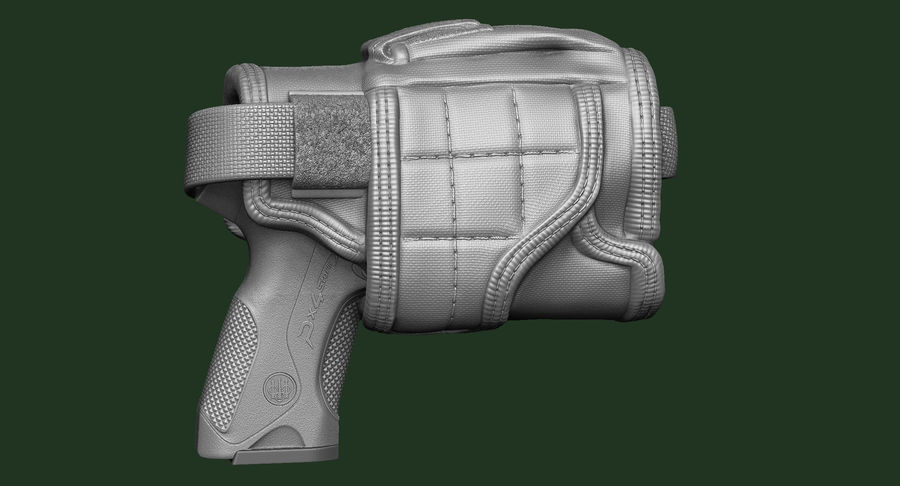BERETTA PX4 Storm met Holster Zbrush Sculpt royalty-free 3d model - Preview no. 5