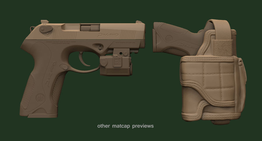BERETTA PX4 Storm met Holster Zbrush Sculpt royalty-free 3d model - Preview no. 19