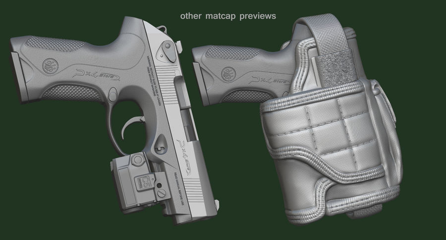BERETTA PX4 Storm met Holster Zbrush Sculpt royalty-free 3d model - Preview no. 20