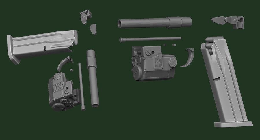 带有皮套Zbrush造型的BERETTA PX4 Storm royalty-free 3d model - Preview no. 17
