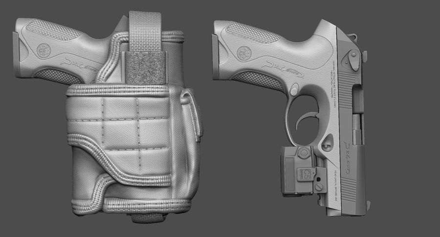 BERETTA PX4 Storm met Holster Zbrush Sculpt royalty-free 3d model - Preview no. 2
