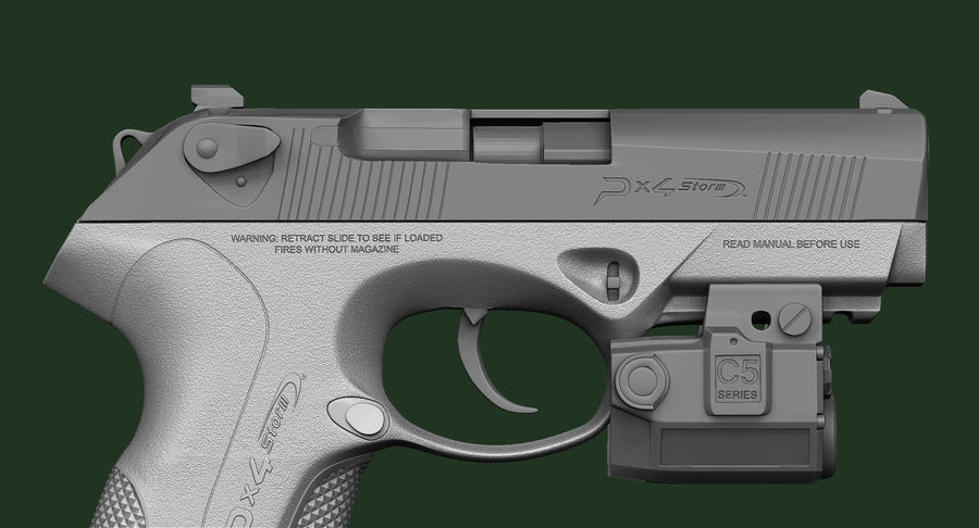 BERETTA PX4 Storm met Holster Zbrush Sculpt royalty-free 3d model - Preview no. 15