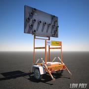 Byt skylt med låg poly konstruktion 3d model