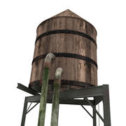 Rooftop Water Tower 3d model