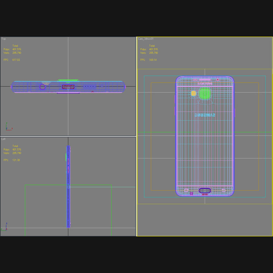 Samsung Galaxy A5 2016 розовый royalty-free 3d model - Preview no. 43