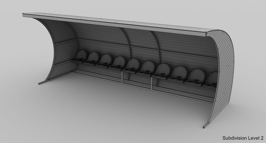 Bench for Reserve Players royalty-free 3d model - Preview no. 9