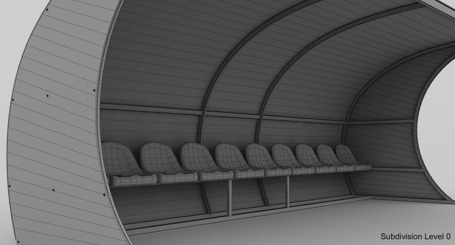 Bench for Reserve Players royalty-free 3d model - Preview no. 10