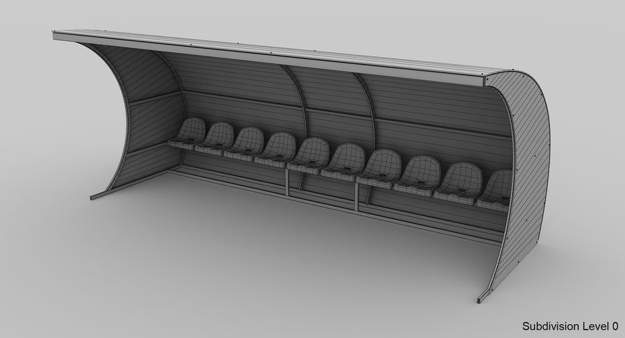 Bench for Reserve Players royalty-free 3d model - Preview no. 8